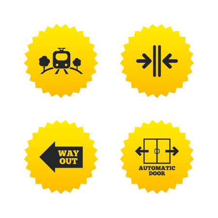 way out: Train railway icon. Overground transport. Automatic door symbol. Way out arrow sign. Yellow stars labels with flat icons. Vector