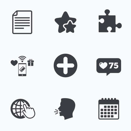 globe puzzle: Plus add circle and puzzle piece icons. Document file and globe with hand pointer sign symbols. Flat talking head, calendar icons. Stars, like counter icons. Vector
