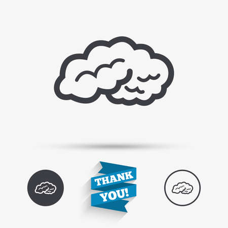 intelligent: Brain sign icon. Human intelligent smart mind. Flat icons. Buttons with icons. Thank you ribbon. Vector Illustration