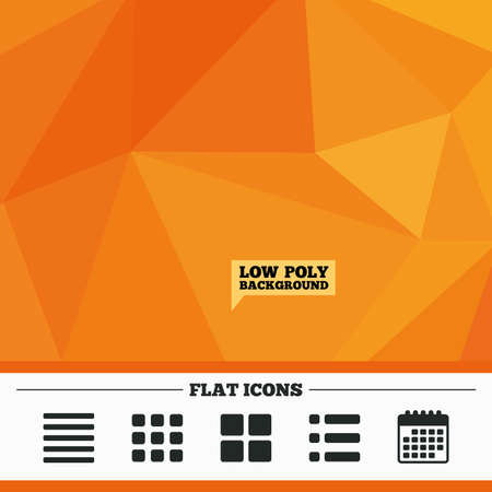 thumbnails: Triangular low poly orange background. List menu icons. Content view options symbols. Thumbnails grid or Gallery view. Calendar flat icon. Vector Illustration