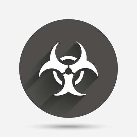 biohazard sign: Biohazard sign icon. Danger symbol. Circle flat button with shadow. Vector Illustration
