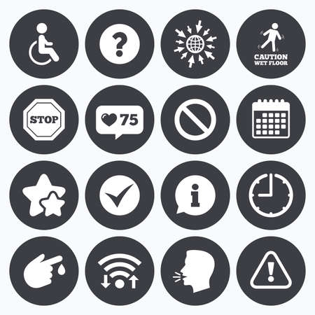 head injury: Calendar, wifi and clock symbols. Like counter, stars symbols. Attention caution icons. Question mark and information signs. Injury and disabled person symbols. Talking head, go to web symbols. Vector