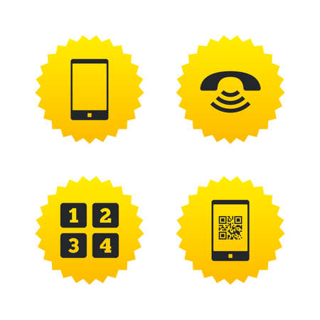Phone icons. Smartphone with Qr code sign. Call center support symbol. Cellphone keyboard symbol. Yellow stars labels with flat icons. Vector