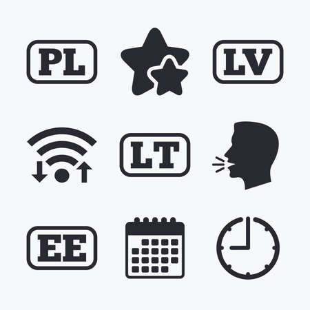 ee: Language icons. PL, LV, LT and EE translation symbols. Poland, Latvia, Lithuania and Estonia languages. Wifi internet, favorite stars, calendar and clock. Talking head. Vector Illustration