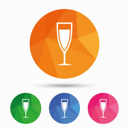 champagne orange: Glass of champagne sign icon. Sparkling wine. Celebration or banquet alcohol drink symbol. Triangular low poly button with flat icon. Vector