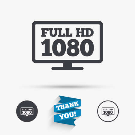 full hd: Full hd widescreen tv sign icon. 1080p symbol. Flat icons. Buttons with icons. Thank you ribbon. Vector