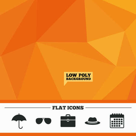 triangular eyes: Triangular low poly orange background. Clothing accessories icons. Umbrella and sunglasses signs. Headdress hat with business case symbols. Calendar flat icon. Vector