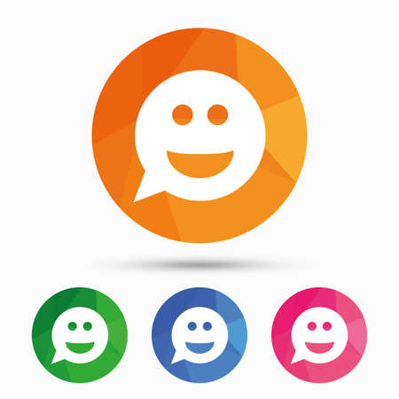 triangular eyes: Smile face sign icon. Happy smiley chat symbol. Speech bubble. Triangular low poly button with flat icon. Vector