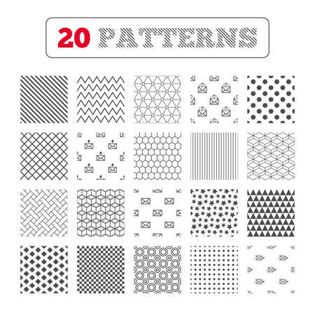 webmail: Ornament patterns, diagonal stripes and stars. Mail envelope icons. Message document delivery symbol. Post office letter signs. Inbox and outbox message icons. Geometric textures. Vector