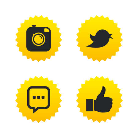 yellow photo: Hipster photo camera icon. Like and Chat speech bubble sign. Hand thumb up. Bird symbol. Yellow stars labels with flat icons. Vector