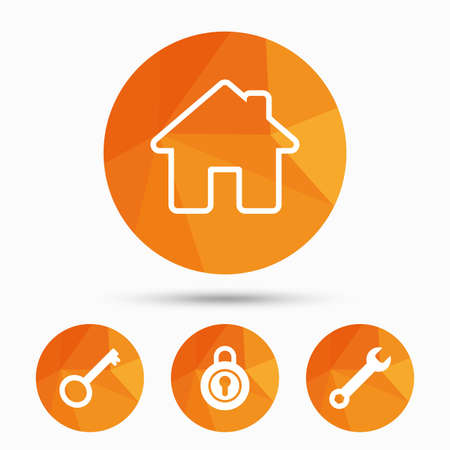 main: Home key icon. Wrench service tool symbol. Locker sign. Main page web navigation. Triangular low poly buttons with shadow. Vector Illustration