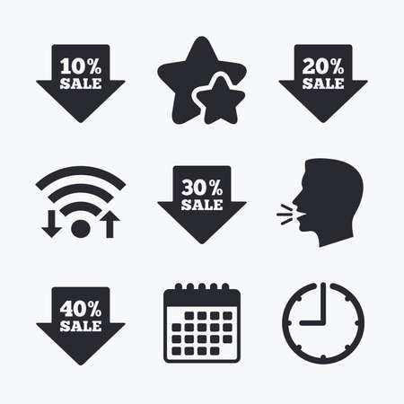 head tag: Sale arrow tag icons. Discount special offer symbols. 10%, 20%, 30% and 40% percent sale signs. Wifi internet, favorite stars, calendar and clock. Talking head. Vector Illustration
