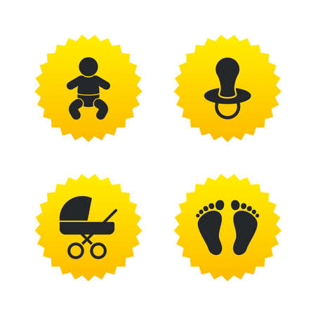 buggy: Baby infants icons. Toddler boy with diapers symbol. Buggy and dummy signs. Child pacifier and pram stroller. Child footprint step sign. Yellow stars labels with flat icons. Vector