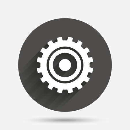 gear icon: Cog settings sign icon. Cogwheel gear mechanism symbol. Circle flat button with shadow. Vector Illustration