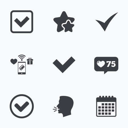 accepted: Check icons. Checkbox confirm circle sign symbols. Flat talking head, calendar icons. Stars, like counter icons. Vector