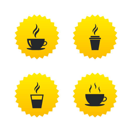 takeout: Coffee cup icon. Hot drinks glasses symbols. Take away or take-out tea beverage signs. Yellow stars labels with flat icons. Vector Illustration