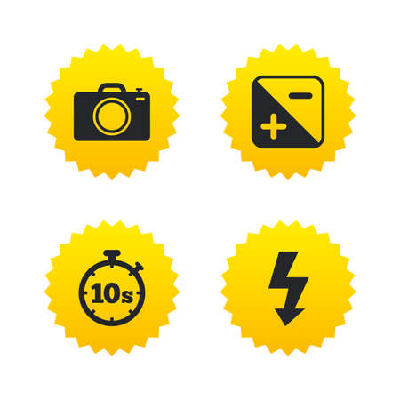 seconds: Photo camera icon. Flash light and exposure symbols. Stopwatch timer 10 seconds sign. Yellow stars labels with flat icons. Vector