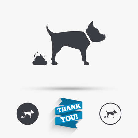 feces: Feces sign icon. Clean up after pets symbol. Put it in the bag. Flat icons. Buttons with icons. Thank you ribbon. Vector Illustration