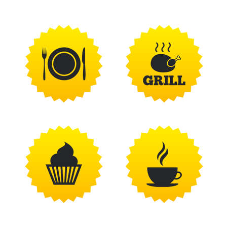 hot plate: Food and drink icons. Muffin cupcake symbol. Plate dish with fork and knife sign. Hot coffee cup. Yellow stars labels with flat icons. Vector Illustration