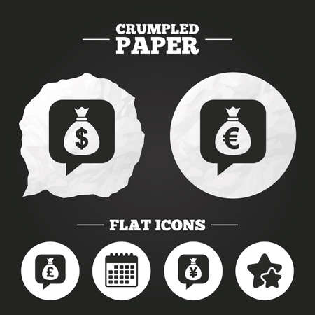 jpy: Crumpled paper speech bubble. Money bag icons. Dollar, Euro, Pound and Yen speech bubbles symbols. USD, EUR, GBP and JPY currency signs. Paper button. Vector