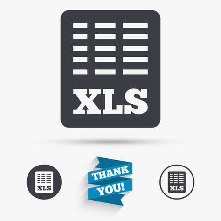 xls: Excel file document icon. Download xls button. XLS file symbol. Flat icons. Buttons with icons. Thank you ribbon. Vector Illustration