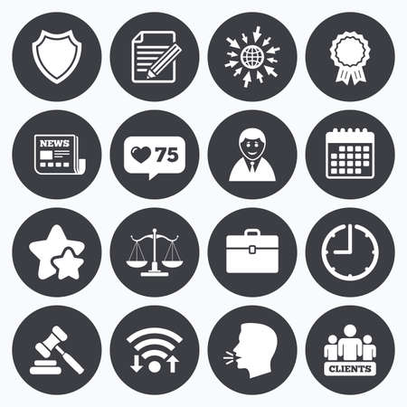hammer head: Calendar, wifi and clock symbols. Like counter, stars symbols. Lawyer, scales of justice icons. Clients, auction hammer and law judge symbols. Newspaper, award and agreement document signs. Talking head, go to web symbols. Vector Illustration