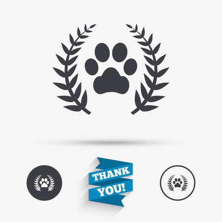 勝者ペット月桂樹の花輪記号アイコン。犬足の記号。フラット アイコン。アイコンとボタン。ありがとうございますリボン。ベクトル  イラスト・ベクター素材