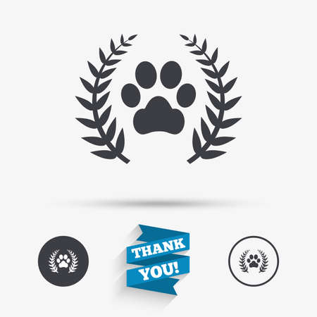 Winner pets laurel wreath sign icon. Dog paw symbol. Flat icons. Buttons with icons. Thank you ribbon. Vector