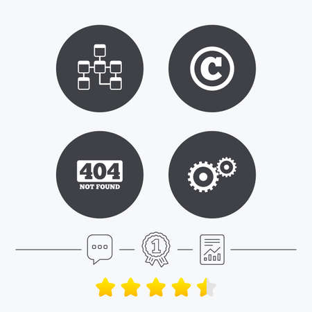 mysql: Website database icon. Copyrights and gear signs. 404 page not found symbol. Under construction. Chat, award medal and report linear icons. Star vote ranking. Vector