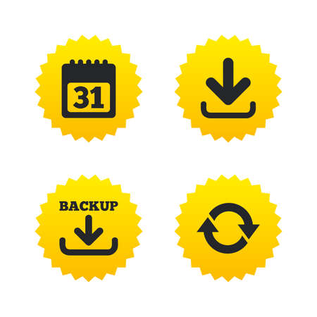 Download and Backup data icons. Calendar and rotation arrows sign symbols. Yellow stars labels with flat icons. Vector