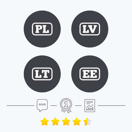 ee: Language icons. PL, LV, LT and EE translation symbols. Poland, Latvia, Lithuania and Estonia languages. Chat, award medal and report linear icons. Star vote ranking. Vector