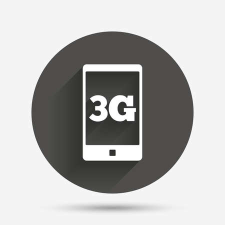 3g: 3G sign icon. Mobile telecommunications technology symbol. Circle flat button with shadow. Vector Illustration