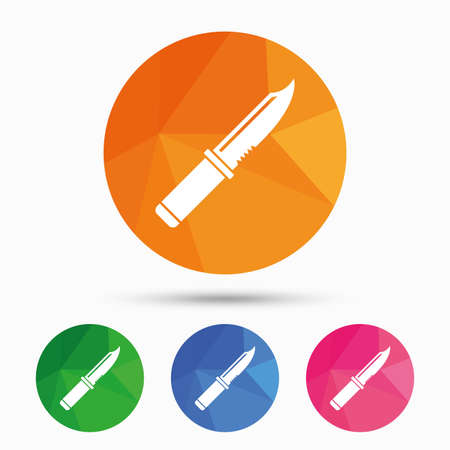 edged: Knife sign icon. Edged weapons symbol. Stab or cut. Hunting equipment. Triangular low poly button with flat icon. Vector