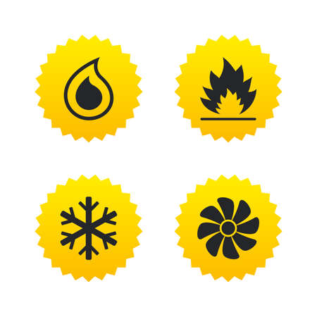 water supply: HVAC icons. Heating, ventilating and air conditioning symbols. Water supply. Climate control technology signs. Yellow stars labels with flat icons. Vector Illustration