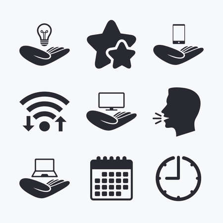head protection: Helping hands icons. Intellectual property insurance symbol. Smartphone, TV monitor and pc notebook sign. Device protection. Wifi internet, favorite stars, calendar and clock. Talking head. Vector