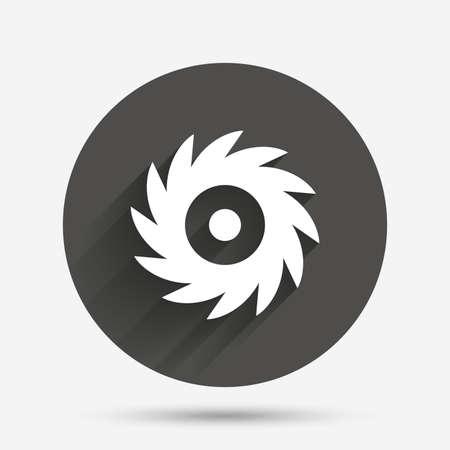cutting blade: Saw circular wheel sign icon. Cutting blade symbol. Circle flat button with shadow. Vector