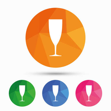 low glass: Glass of champagne sign icon. Sparkling wine. Celebration or banquet alcohol drink symbol. Triangular low poly button with flat icon. Vector