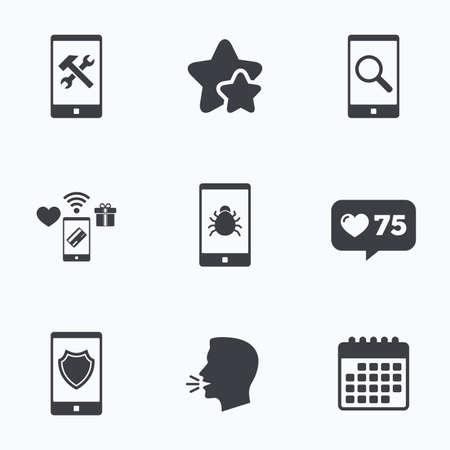 counter service: Smartphone icons. Shield protection, repair, software bug signs. Search in phone. Hammer with wrench service symbol. Flat talking head, calendar icons. Stars, like counter icons. Vector