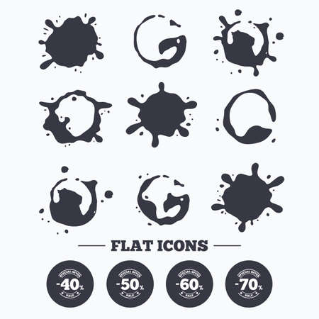 50 to 60: Paint, coffee or milk splash blots. Sale discount icons. Special offer stamp price signs. 40, 50, 60 and 70 percent off reduction symbols. Smudges splashes drops. Vector