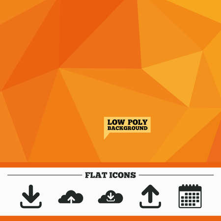 ftp: Triangular low poly orange background. Download now icon. Upload from cloud symbols. Receive data from a remote storage signs. Calendar flat icon. Vector