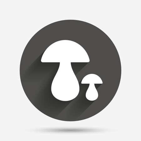 button mushroom: Mushroom sign icon. Boletus mushroom symbol. Circle flat button with shadow. Vector