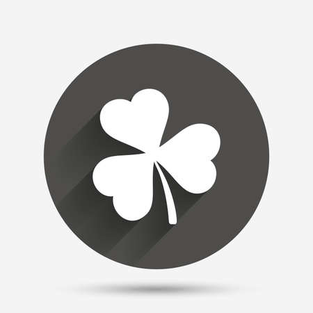 clover button: Clover with three leaves sign icon. Trifoliate clover. Saint Patrick trefoil symbol. Circle flat button with shadow. Vector Illustration