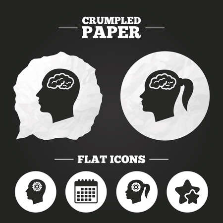pigtail: Crumpled paper speech bubble. Head with brain icon. Male and female human think symbols. Cogwheel gears signs. Woman with pigtail. Paper button. Vector