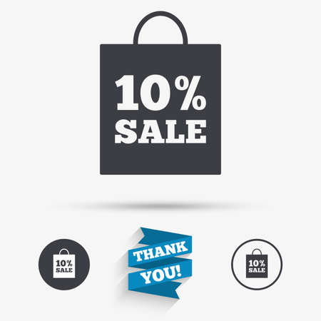 you are special: 10% sale bag tag sign icon. Discount symbol. Special offer label. Flat icons. Buttons with icons. Thank you ribbon. Vector