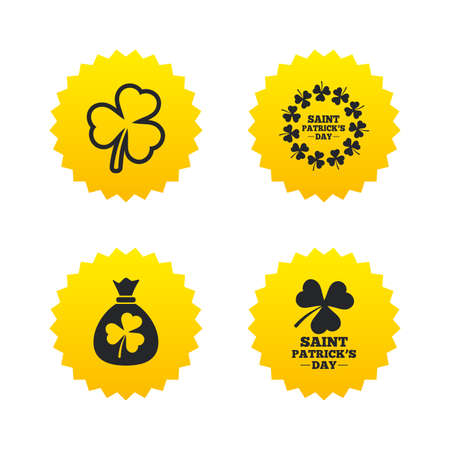 Saint Patrick day icons. Money bag with clover sign. Wreath of trefoil shamrock clovers. Symbol of good luck. Yellow stars labels with flat icons. Vector
