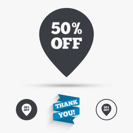 you are special: 50% sale pointer tag sign icon. Discount symbol. Special offer label. Flat icons. Buttons with icons. Thank you ribbon. Vector