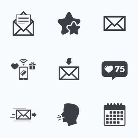 webmail: Mail envelope icons. Message document delivery symbol. Post office letter signs. Inbox and outbox message icons. Flat talking head, calendar icons. Stars, like counter icons. Vector