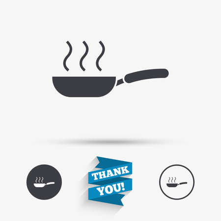 iron ribbon: Frying pan sign icon. Fry or roast food symbol. Flat icons. Buttons with icons. Thank you ribbon. Vector Illustration