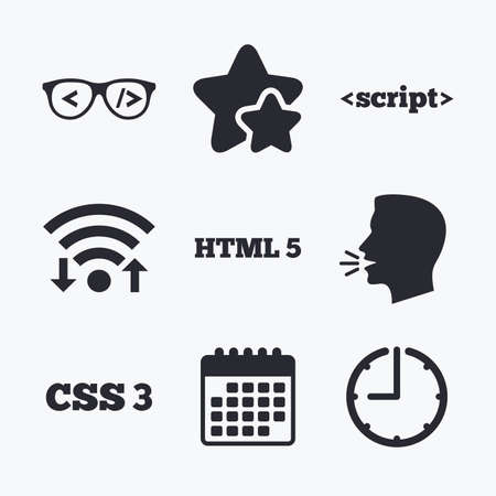 html5: Programmer coder glasses icon. HTML5 markup language and CSS3 cascading style sheets sign symbols. Wifi internet, favorite stars, calendar and clock. Talking head. Vector Illustration