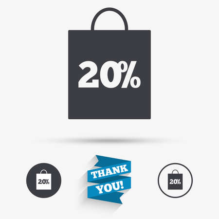 you are special: 20% sale bag tag sign icon. Discount symbol. Special offer label. Flat icons. Buttons with icons. Thank you ribbon. Vector